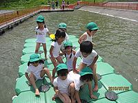 親子遠足の写真。子供たちがブロックに乗って遊んでいる